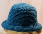Peacock blue rolled brim hat
