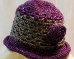 Purple & silver rolled brim hat