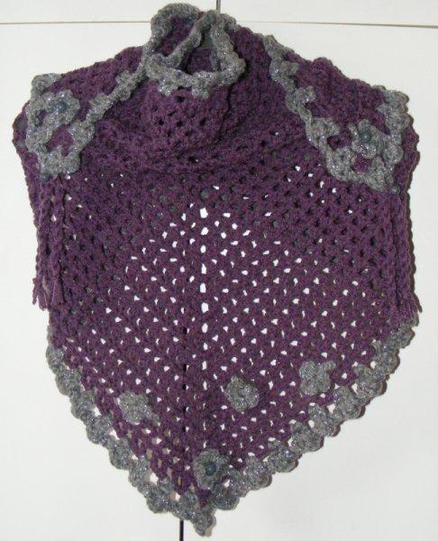 Plum/silver twinkle triangular scarf