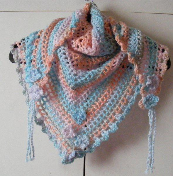 Peach/blue/multi triangular scarf