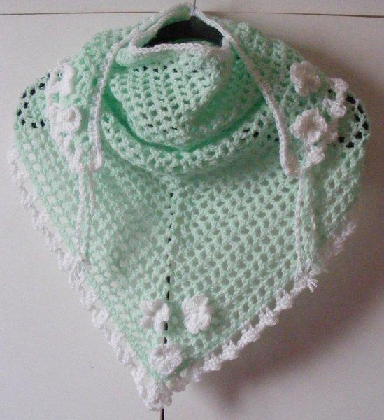Mint green/white triangular scarf