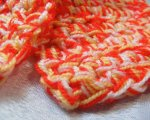 Red, yellow and white scarf detail