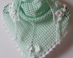 Mint green/white triangular scarf