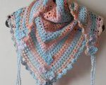 Peach/blue/multi triangular scarf
